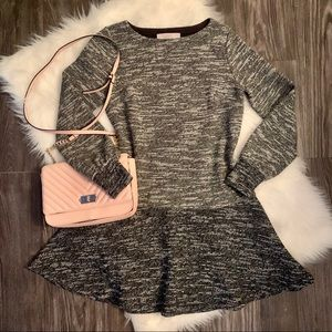NWOT LOFT grey + black long bubble sleeve dress